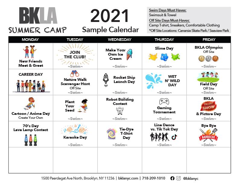 Sample Summer Camp Schedule